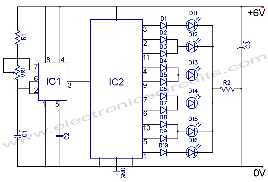 4017 led knight rider circuit diagram electronic circuits Basic Electrical Wiring Diagrams at 4017 Wiring Diagram