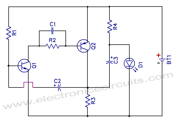 1.5v One Battery LED Light Flasher Circuit schematic 1 5v one battery led light flasher circuit diagram electronic led circuit diagrams at edmiracle.co