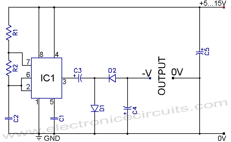 555 IC Negative Voltage Power Supply Circuit Diagram