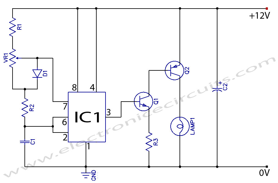 Light Dimmer Circuit Diagram http://www.electronicecircuits.com/electronic-circuits/12v-dc-light-dimmer-circuit-using-555-timer-ic