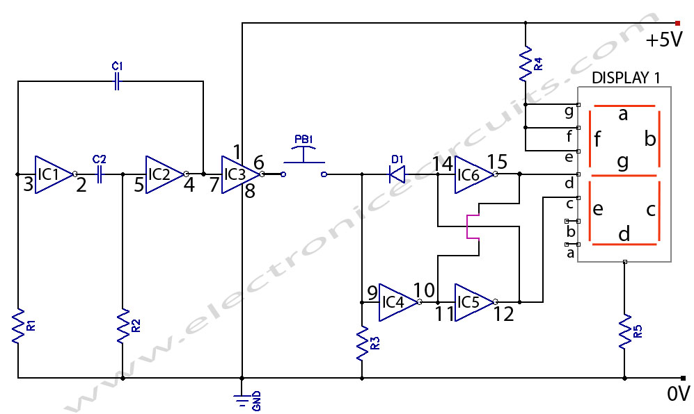 Electronic Coin Toss Circuit Diagram | Electronic Circuits