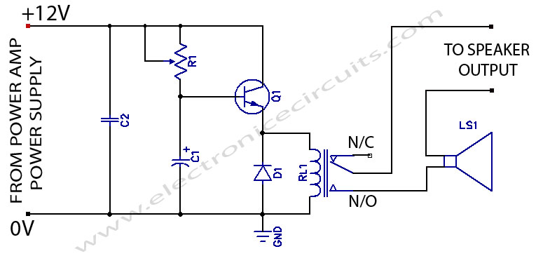 power amplifier speaker protection circuit schematic