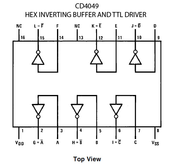 cd4049 hex inverting buffer and ttl driver IC