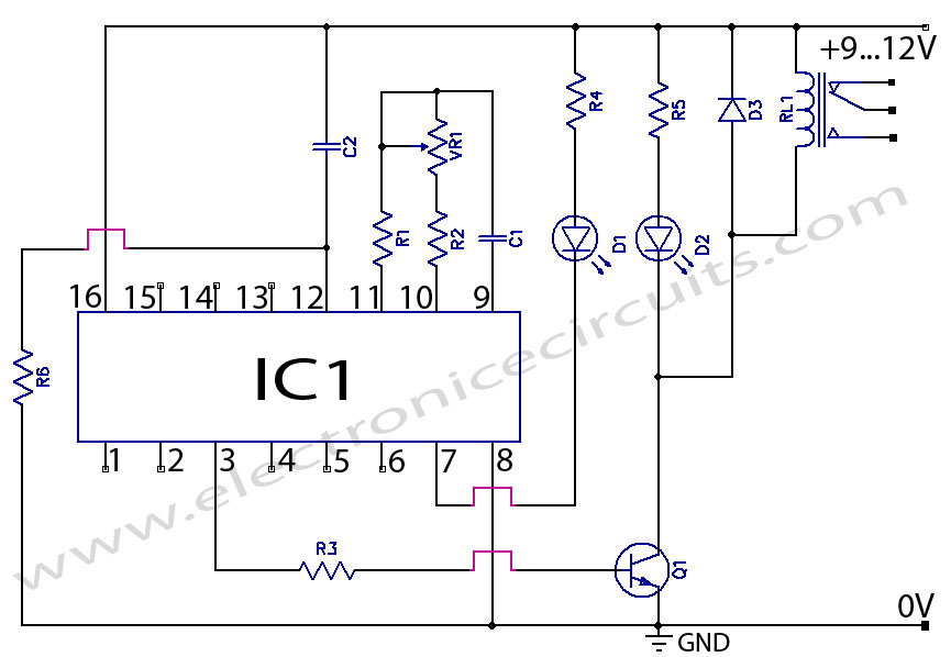 CD4060 IC Timer Circuit  schematic 1 min to 2 hours
