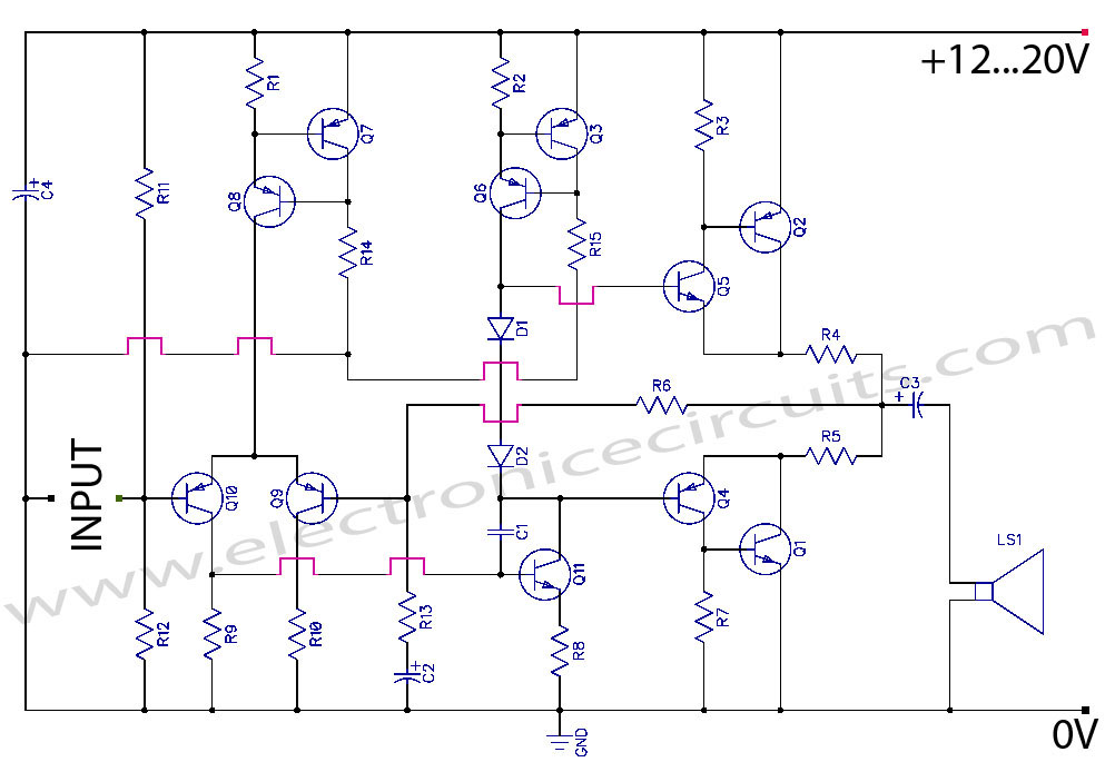Class AB Transistor  Power Amplifier Circuit schematic