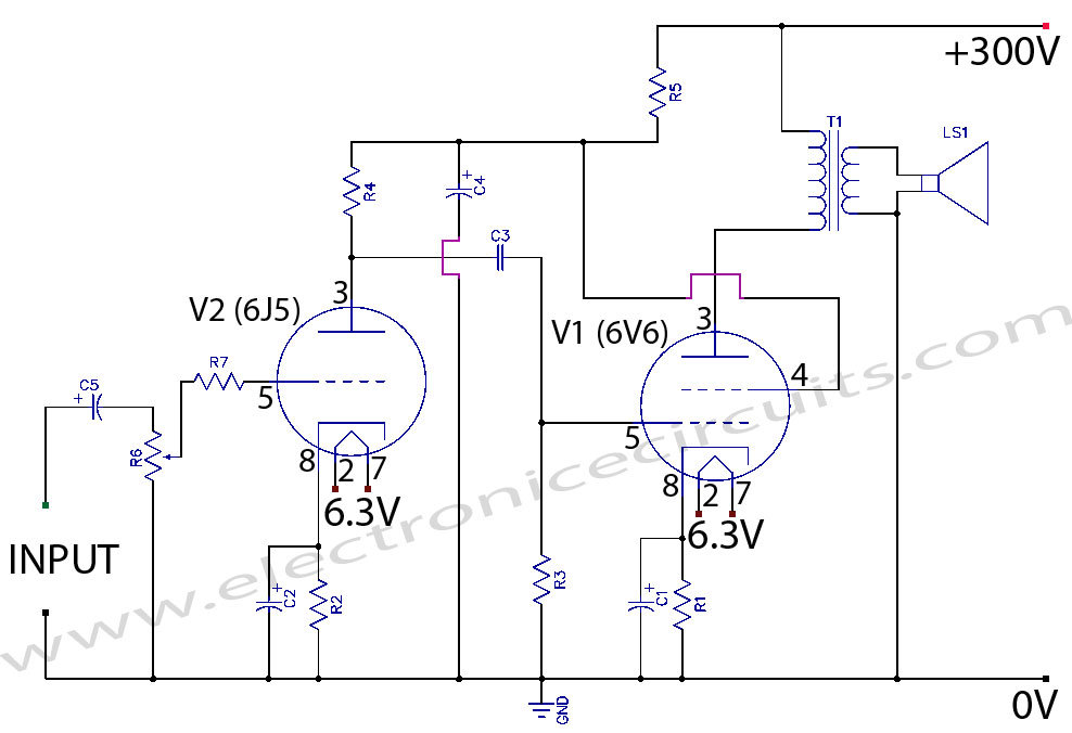 Tube Amplifier Circuit http://www.electronicecircuits.com/electronic-circuits/6v6-6j5-class-a-vacuum-tube-valve-amplifier-circuit