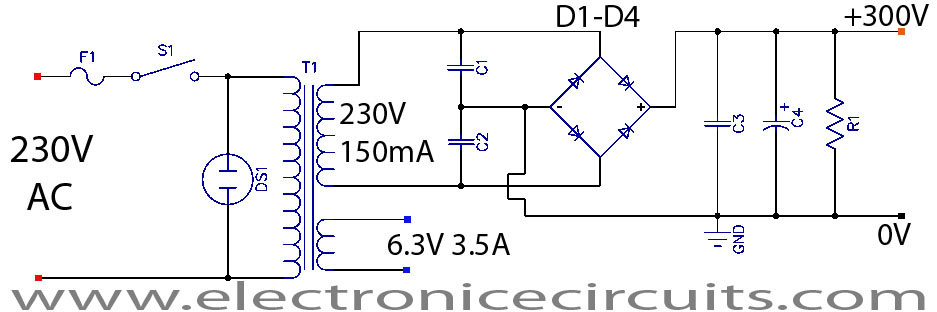 Valve Vacuum Tube Audio Amplifier Power supply Circuit schematic