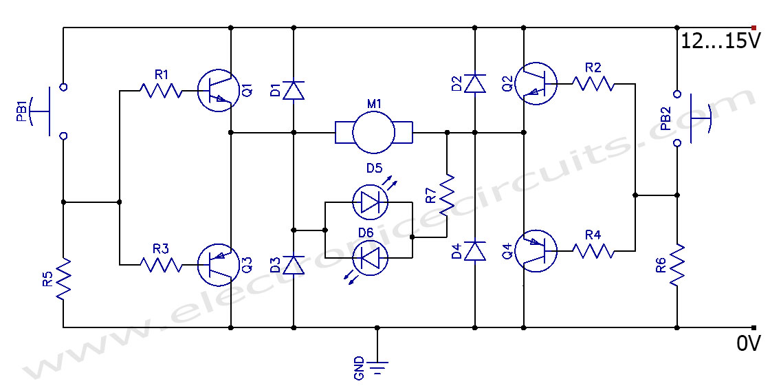 Dc motor clockwise anticlockwise control h bridge circuit for Schematic diagram of dc motor