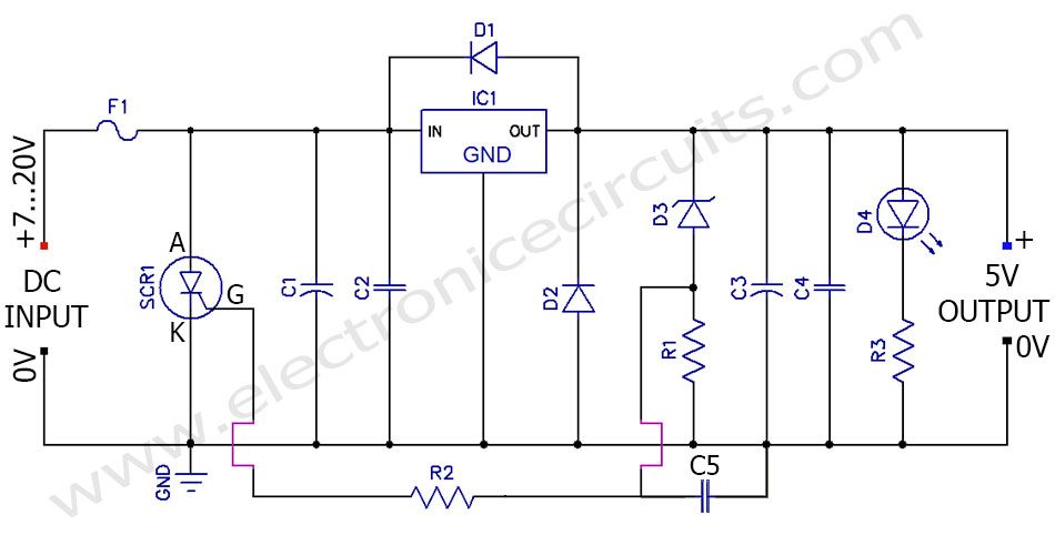 lm7805 5V Regulated Power Supply Overvoltage Protection overcurrent Circuit diagram