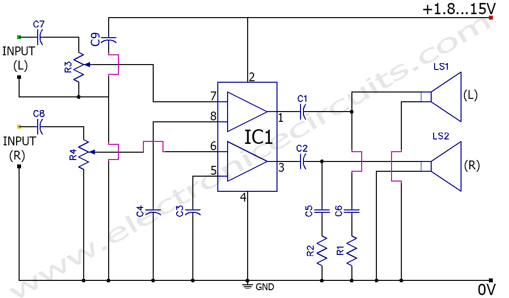 Fantastic 3V Battery Powered Stereo Amplifier Circuit Tda2822M Electronic Wiring Digital Resources Anistprontobusorg