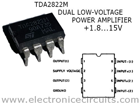 TDA2822M 3v stereo amplifier pin configuration